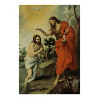 Die Taufe von Christus durch Bartolome Esteban Mur Posterdruck