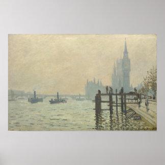 Die Themse unter Westminster durch Claude Monet Poster
