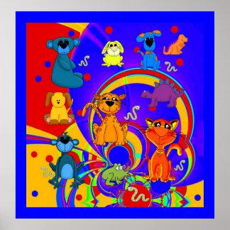 Die Tier-Collage des Plakat-Jungen-Kindes Poster
