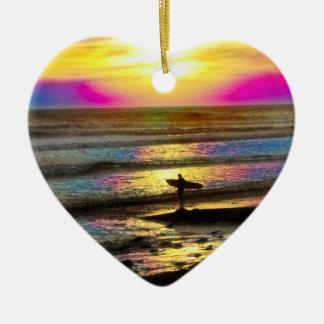 Die Traum-Reihe #2 des Surfers Keramik Herz-Ornament