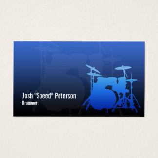 Die Trommel-Ausrüstungs-Silhouette-blaue Visitenkarte