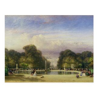 Die Tuileries Gärten, mit dem Arc de Triomphe Postkarte