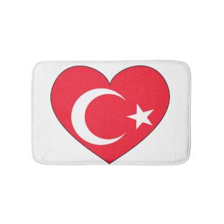 Die Türkei-Flaggen-Herz Badematte