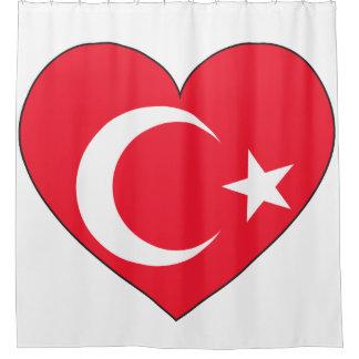 Die Türkei-Flaggen-Herz Duschvorhang