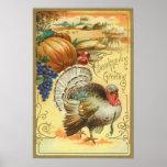 Die Türkei-Kürbis-Mais-Trauben-Apple-Heuschober Poster
