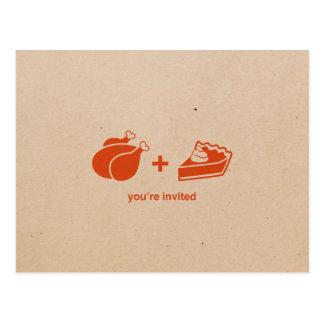 Die Türkei + Kürbis-Torten-Erntedank-Einladungen Postkarte