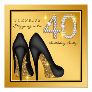 Die Überraschungs-40. Geburtstags-Party der Frau Quadratische 13,3 Cm Einladungskarte