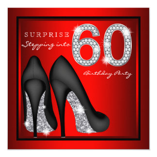 Die Überraschungs-60. Geburtstags-Party-Rot und Karte