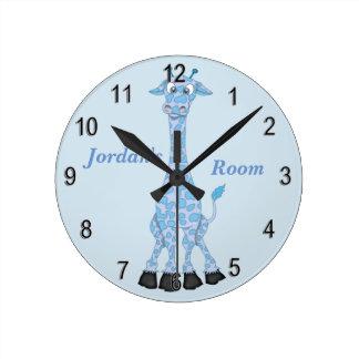 Die Uhr-niedliche blaue Giraffe des Kindes Runde Wanduhr