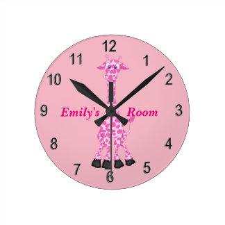 Die Uhr-niedliche rosa Giraffe des Kindes Runde Wanduhr