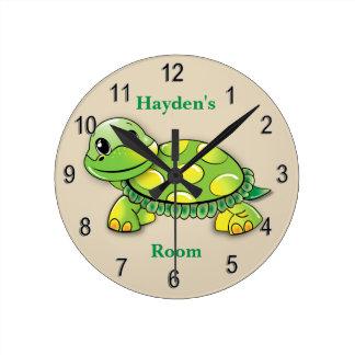 Die Uhr-niedliches Baby-Schildkröte-Lächeln des Runde Wanduhr