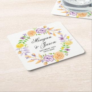 Die Untersetzer-Blumen, die lila Ereignis Wedding Kartonuntersetzer Quadrat