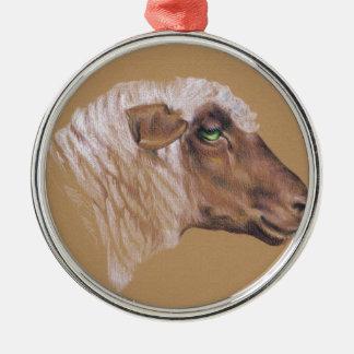 Die unwirschen Schafe Rundes Silberfarbenes Ornament