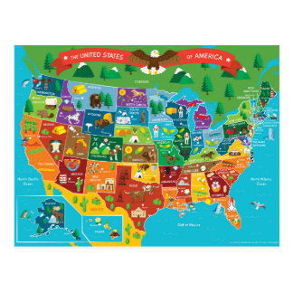 Die USA-Grafik-Karte Postkarten