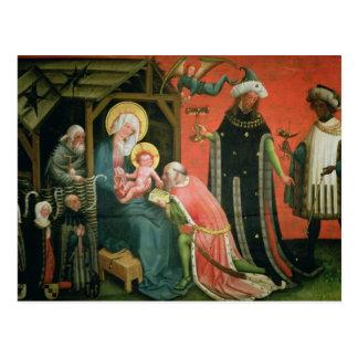 Die Verehrung der Weisen (Öl auf Platte) Postkarte