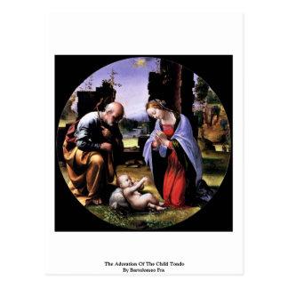 Die Verehrung des Kindes Tondo durch Bartolomeo Postkarte