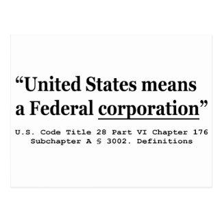 Die Vereinigten Staaten bedeuten eine Postkarte