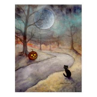 Die vergessene schwarze Katze und der Kürbis Postkarte