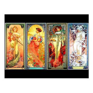 Die vier Jahreszeit-Reihen 3 durch Mucha Postkarte