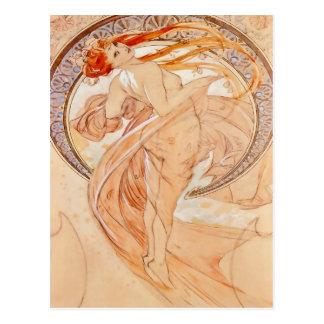 Die vier Künste - Tanz, Kunst Nouveau Postkarte