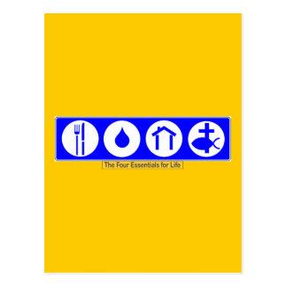 Die vier Wesensmerkmale für das Leben Postkarte