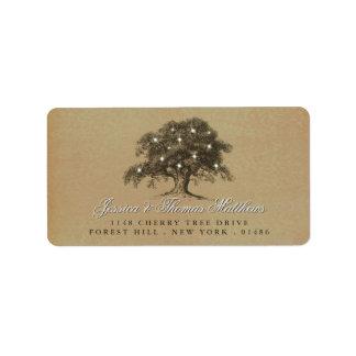 Die Vintage alte Eichen-Baum-Hochzeits-Sammlung Adressaufkleber