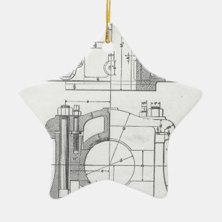 Die Vintage Grafik des industriellen Mechanikers Keramik Ornament