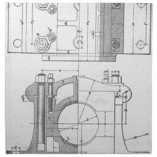 Die Vintage Grafik des industriellen Mechanikers Stoffserviette