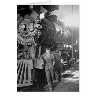 Die Vintage Lokomotive Roundhouse-Gallonen Karte