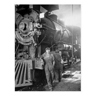 Die Vintage Lokomotive Roundhouse-Gallonen Postkarte