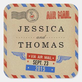 Die Vintage Luftpost-Hochzeits-Sammlung Quadratischer Aufkleber