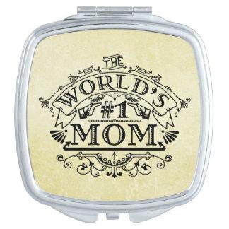 Die Vintage Mamma der Welt der Zahl-eine blühen Taschenspiegel