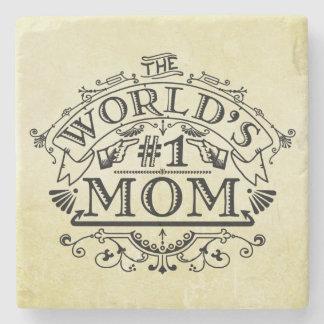 Die Vintage Mamma der Welt der Zahl-eine blühen Steinuntersetzer