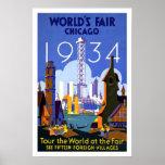 Die Vintage Messe Reise-Plakat-Chicago-Welt 1934