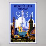 Die Vintage Messe Reise-Plakat-Chicago-Welt 3 1934