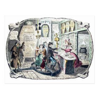 Die Vintage Postkarte des Gin-Geschäftes