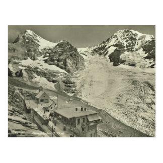 Die Vintage Schweiz, Jungfrau Gletscher Postkarte