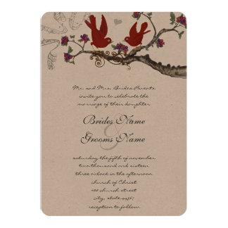 Die Vintagen roten Vögel u. die lila Hochzeit Karte