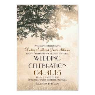 Die Vintagen wedding Eichenbaum- u. -Liebevögel 12,7 X 17,8 Cm Einladungskarte