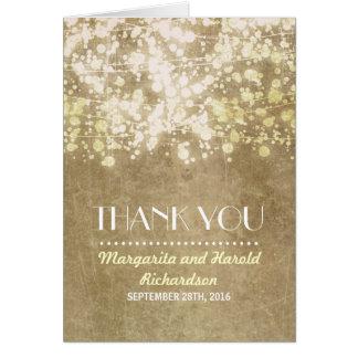 die Vintagen wedding Schnurlichter danken Ihnen Mitteilungskarte