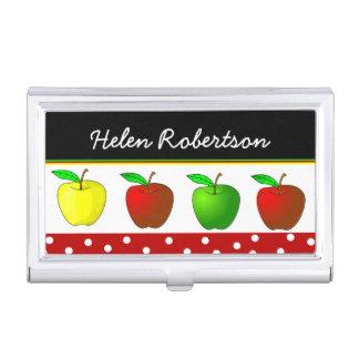Die Visitenkarte-Kasten des bunten Apfel-Lehrers Visitenkarten Dose