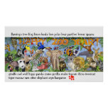 Die Wand-Kunst-Plakat-Druck der Zoo-Tier-Kinder Poster