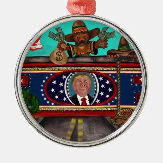 Die Wand Rundes Silberfarbenes Ornament
