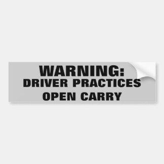 Die warnende offene Fahrer-Praxis trägt Autoaufkleber