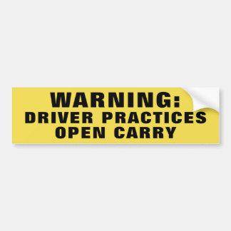 Die warnende offene Fahrer-Praxis trägt Gelb Autoaufkleber