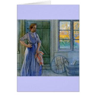Die Wäscherei-Frau, die Waschbrett betrachtet Karte