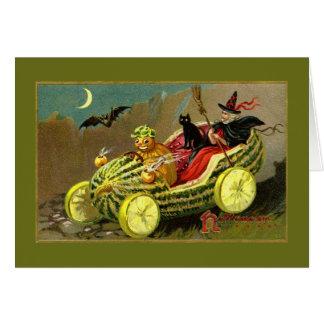 Die Wassermelone-Auto Halloween-Hexe Grußkarte