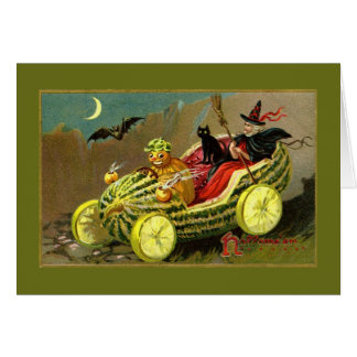 Die Wassermelone-Auto Halloween-Hexe Karte