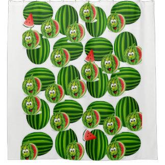 die Wassermelone der Kinder weißes grünes Duschvorhang