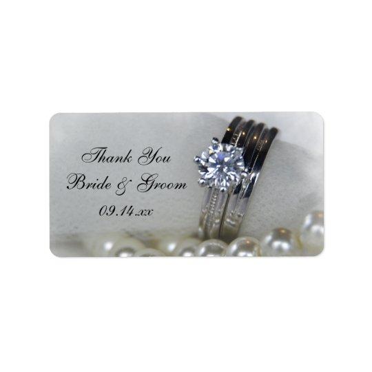 Die Wedding Diamant-Ring-Perlen danken Ihnen, Adressaufkleber